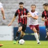 Roberto Lopes and Keith Buckley in action against Galway United - by Martin Doherty