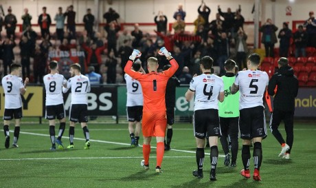 Bohemians salute away support in Derry on Monday - Stephen Burke