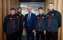 Ireland manager Mick McCarthy pictured with Ross Tierney, Craig Sexton, Dawson Devoy and Alex Kelly earlier today. Picture SPORTSFILE