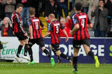 Adam Evans celebrates equaliser - By Eddie Lennon