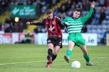Robbie Creevy is tackled by Luke Synnott - Eddie Lennon