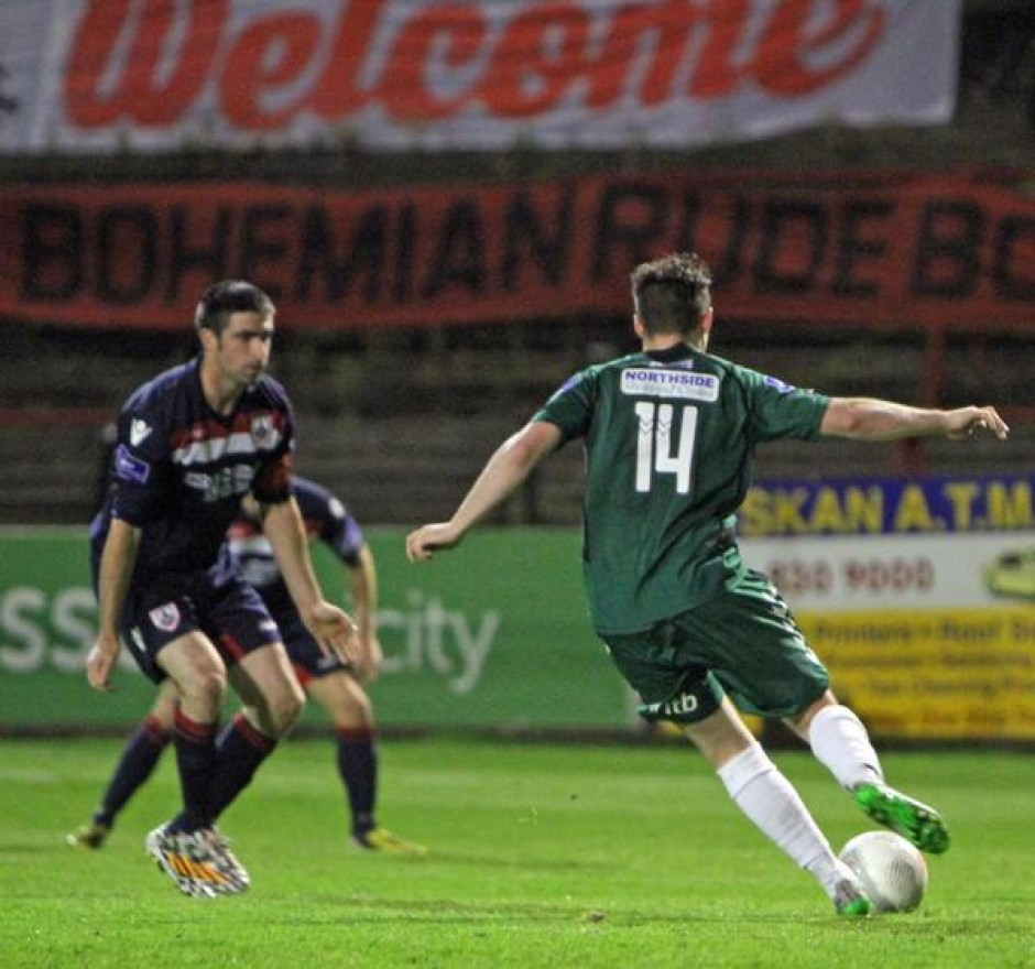 Paddy Kavanagh shapes up to give Bohs the lead against Longford Town by A. Baldiemann
