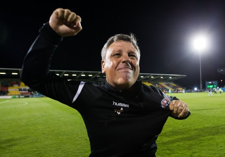 Keith Long celebrates at the final whistle 17/8/2018
