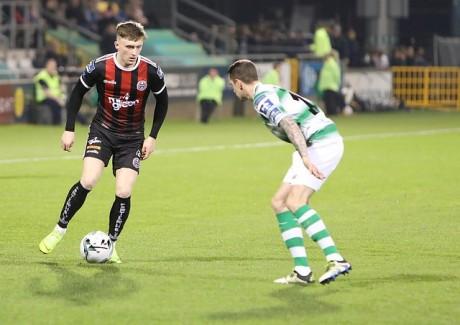 Danny Grant in action against Shamrock Rovers - Stephen Burke