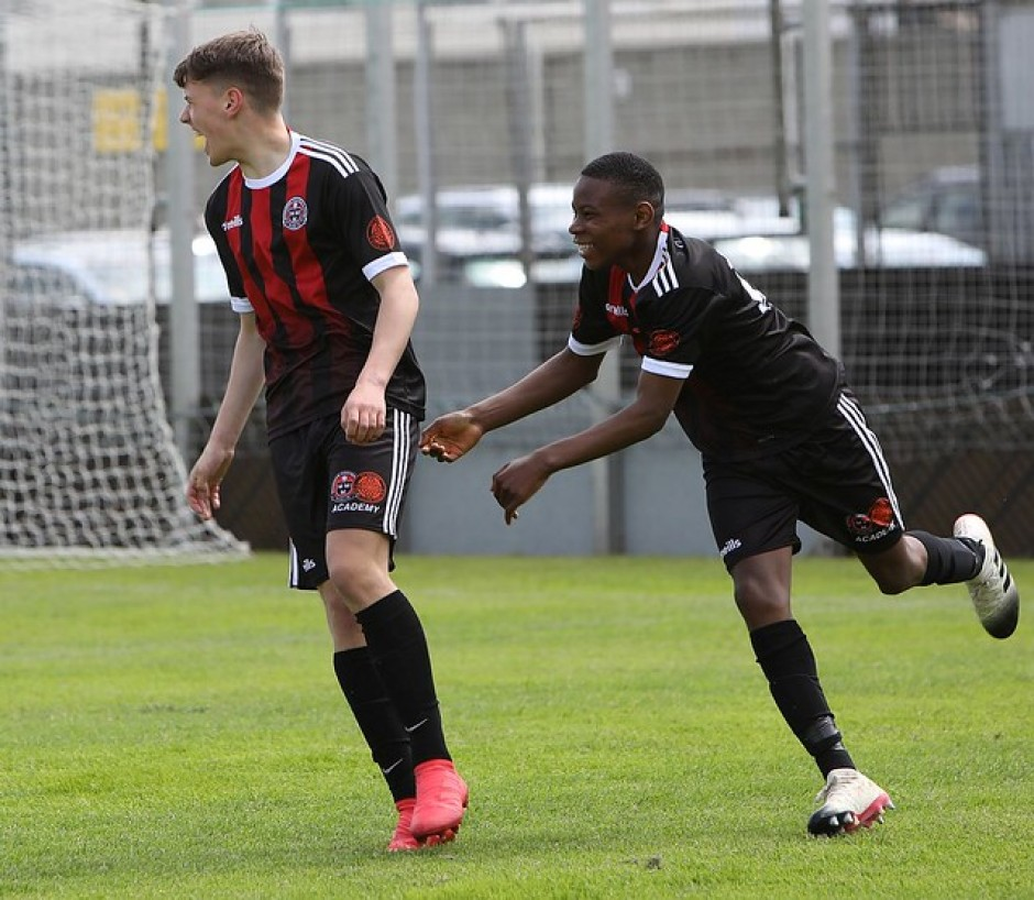 Dylan Simpson celebrates scoring for Bohs-SKB U15s - Stephen Burke