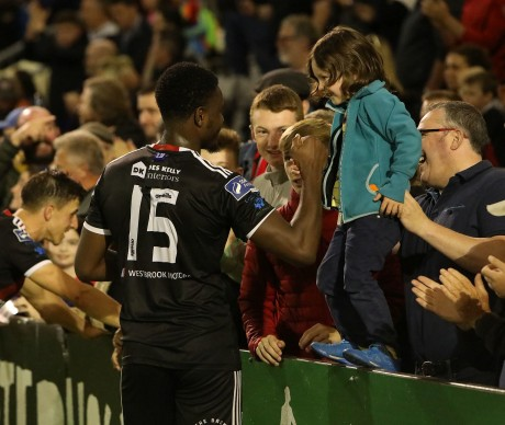 Andre Wright celebrates with supporters on Friday night - Stephen Burke