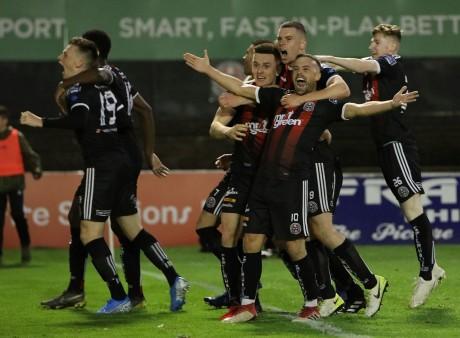 Bohs players celebrate at full-time - Stephen Burke