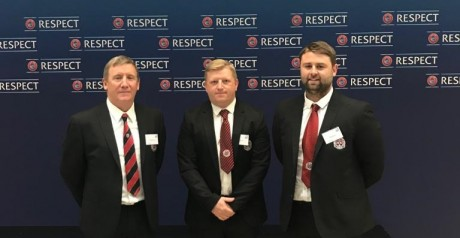 Bohs Honorary Secretary Stephen Lambert, Bohs-SKB Technical Director Alan Caffrey and Bohs U19 boss Craig Sexton at yesterday's draw in Nyon