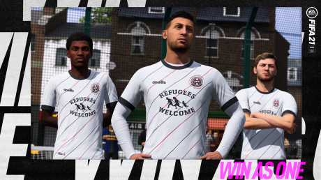 EA Games FIFA 2021 screenshot with BOHs 'Refugees Welcome' jersey