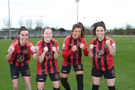 Goalscorers Bronagh Kane, Aoife Robinson, Sophie Watters and Naimu Chemaou