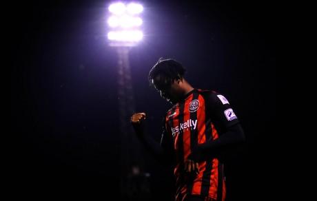 Roland Idowu celebrates scoring his side's fourth goal 17/9/2021