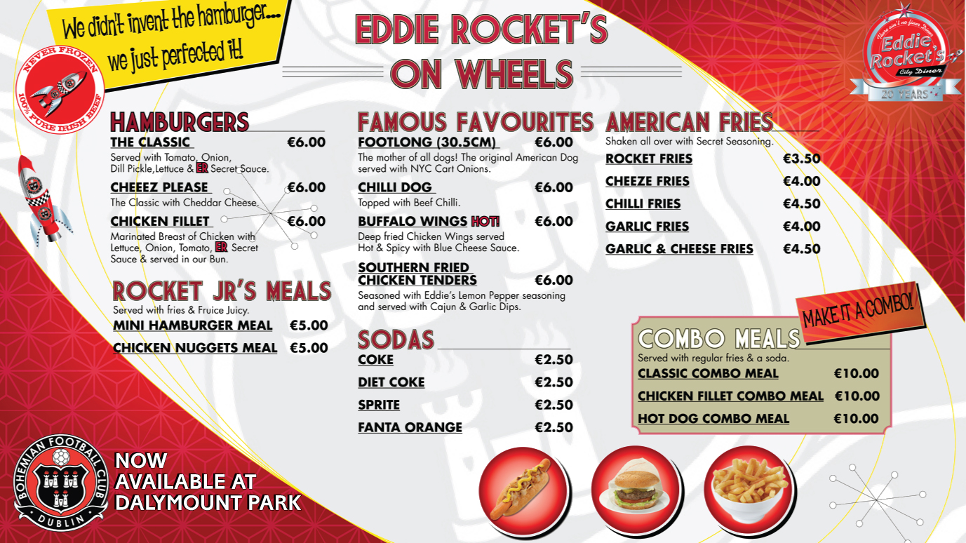 Ddie rocket s are bohemians new matchday catering partners for