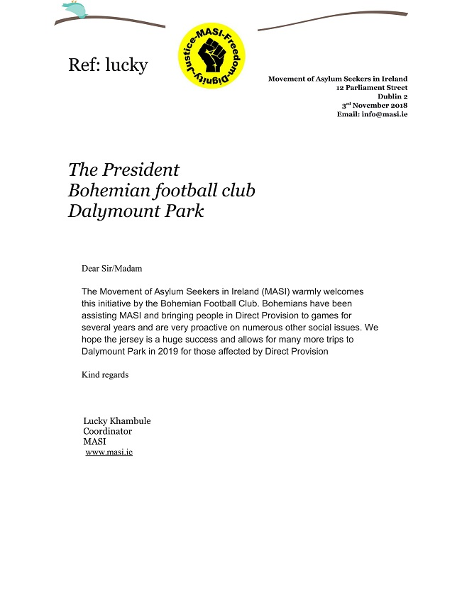 MASI letter to Bohemians